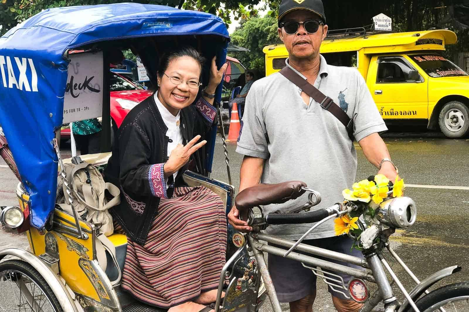 Lady In The Tricycle In Chiang Mai