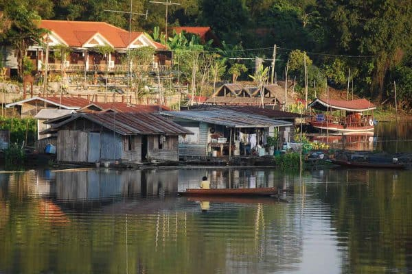 Raft House Along The River In Uthai Thani Province, Thailand